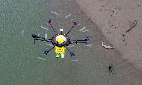 croc-spotting-drone in flight
